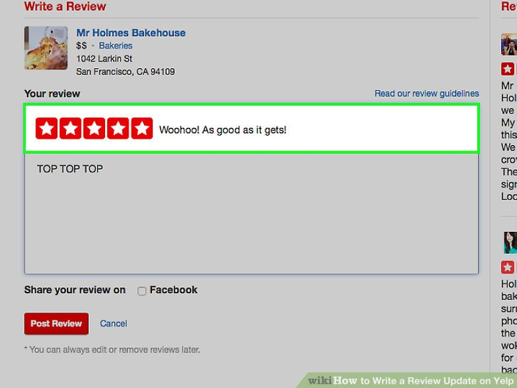 how to write a yelp review